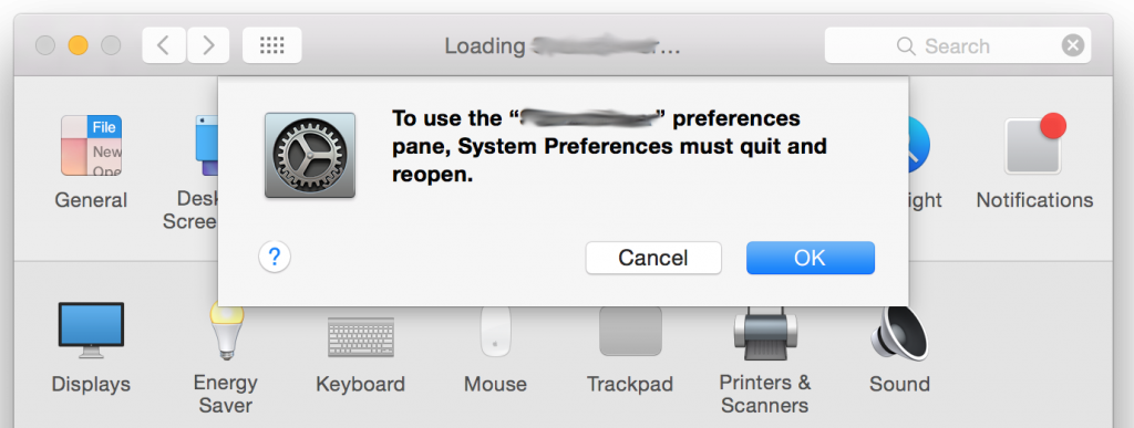 system preferences must quit and reopen